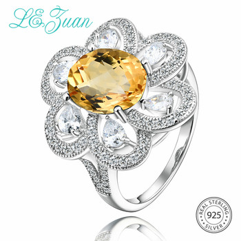 L&zuan Trendy 3.43ct Natural Citrine Floral Rings for Woman in 925 Sterling Silver Oval Cut Yellow Gemstone Ring Fine Jewelry
