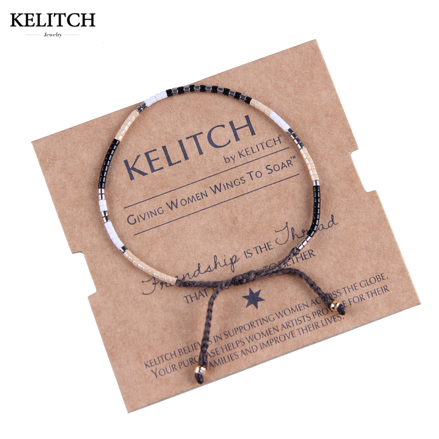 KELITCH Gelang Perhiasan Hitam Seed Beaded Gelang Handmade Cotton Rope Honorable Weave String Persahabatan Gelang Untuk Wanita
