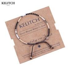 KELITCH Bracelets Jewelry Black Seed Beaded Bracelet Handmade Cotton Rope Honorable Weave String Friendship Bracelet For Women