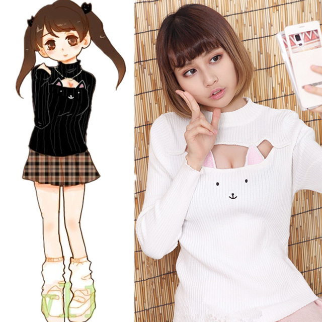Japanese Harajuku Love Live Choker Cat Sweater Cosplay Costume Sexy Anime Kawaii Sweater ...