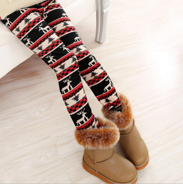VEENIBEAR Winter Warm Girls Leggings Star Print Girls Pants Kids Children Elastic Waist Girls Trousers Clothing 2-7T 2