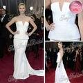 85a Oscar vestido de Red Carpet Charlize Theron v-cuello del A-line de la cintura con moldeado palabra de longitud gasa Celebrity