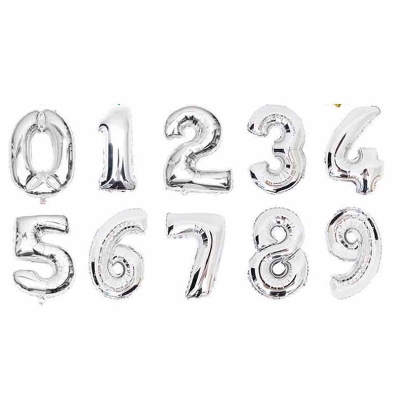 16 32 дюймов надувные шары в виде цифр синий черный, красный золото Silve номер Фольга шарики, День подарков будущей матери Happy День рождения свадебные шарики Globos