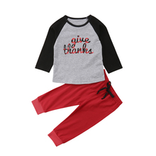 Thanksgiving Kids Baby Boy Girl Outfits Long Sleeve T-shirt Tops Leggings Pants 2Pcs Clothes Set 2019 thanksgiving toddler kids baby girl clothes long sleeve tops plaid pants leggings headband 3pcs outfits clothes set