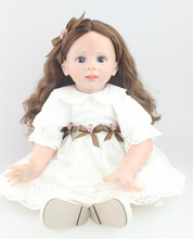 24 inch Toddler Reborn Fridolin lovely baby high quality collection doll and white princess clothes toy for girls