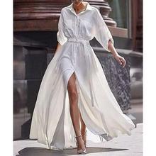 2209730bb88 2018 New Fashion White Long Dress Button Turn Down Collar Split Maxi Dress  Bohemian Half Sleeve