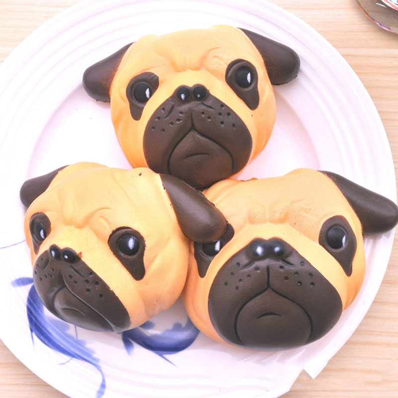 New Cute Anti-stress Squishy Slow Rising Pugs Puppy Little Dog PU Squishy Toys Squeeze Squishes Joke Toys pa93 pu foam shrimp model squishy relieve stress toy