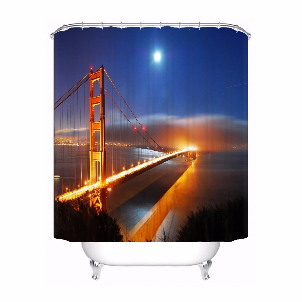 Custom Bay Bridge and San Francisco Waterproof Shower Curtain Home Bath Bathroom s Hooks Polyester Fabric Multi Sizes180509-07