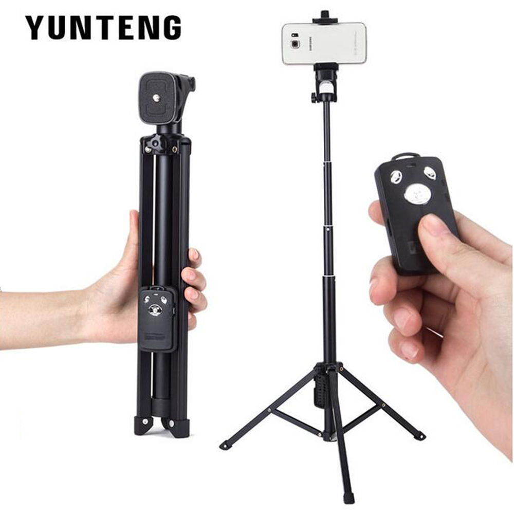 For iPhone Sumsang Phone Gopro Camera YUNTEN Handheld Mini Tripod Self portrait Monopod Selfie Stick Bluetooth