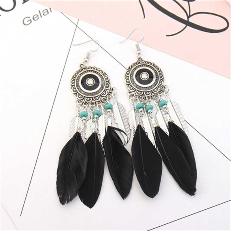 Fashion Jewelry Indian Jewelry Boho Earrings Enamel Beads Long Feather Tassel Drop Ethnic Earrings New Tibetan Silver Brincos