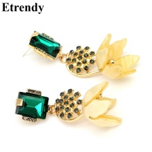 New Fashion Big Earrings For Women Yellow Statement Flower Drop Dangle Jewelry Party