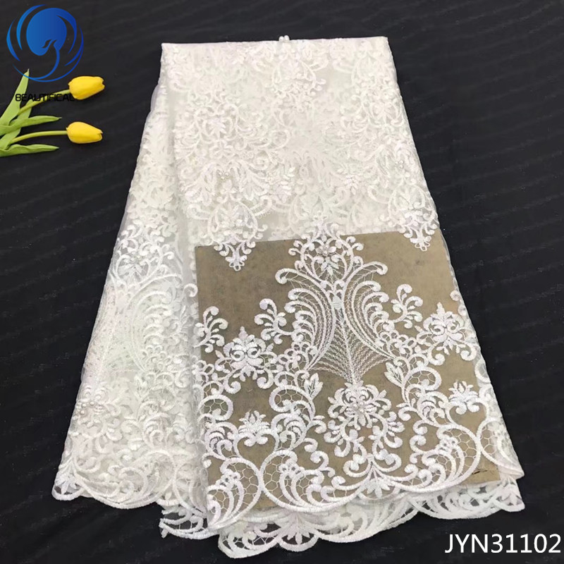 BEAUTIFICAL french lace fabric with beads lace fabric white african net lace fabric 5 yards online shopping free shipping JYN311BEAUTIFICAL french lace fabric with beads lace fabric white african net lace fabric 5 yards online shopping free shipping JYN311