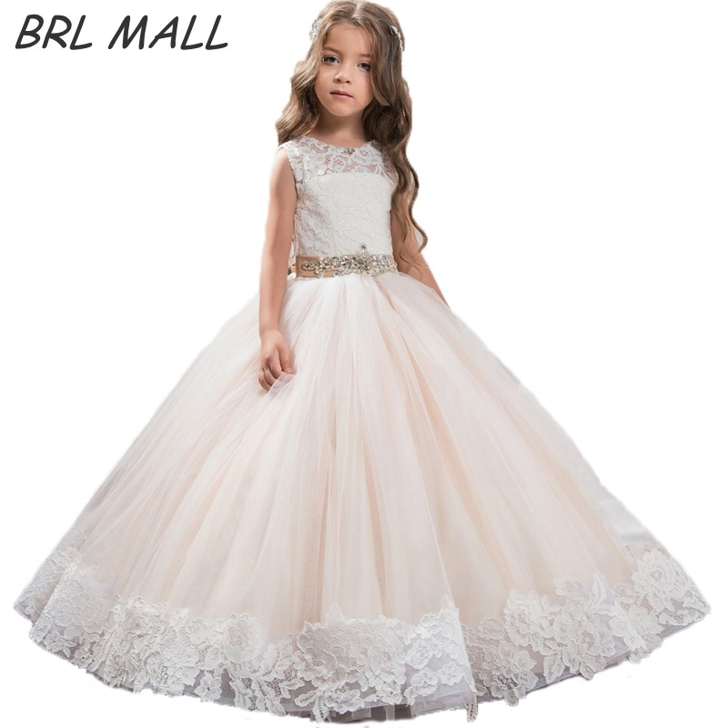 Beautiful Blush flower girl dresses with belt Beaded Crystal Lace ...