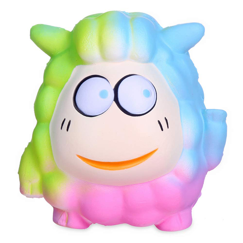 Jumbo Colorful Sheep Doll Squishy Cartoon Slow Rising Strap Cream Scented Squeeze Toys Stress Relief Funny Gift Toy For Children