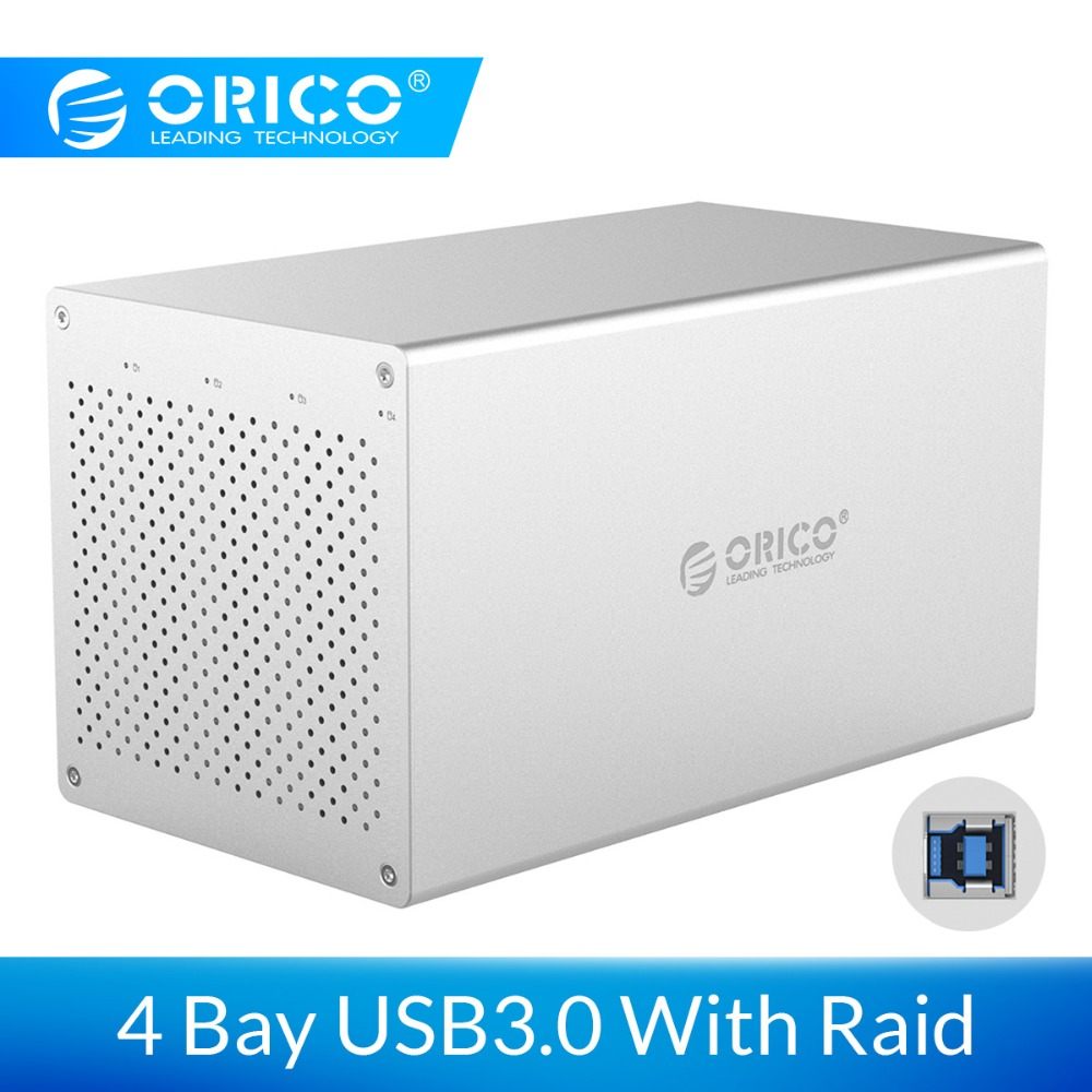 ORICO 4 Bay SATA to USB3.0 HDD Case With Raid Support 40TB Aluminum Alloy 6Gbps Hard Drive Enclosure With 12V Power Adapter|HDD Enclosure| |  - title=