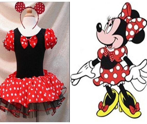 Ccsme DHL 10 unids/lote las muchachas del niño Minnie Style Holiday Party Halloween Dress desgaste de la danza traje del día de fiesta de la venda