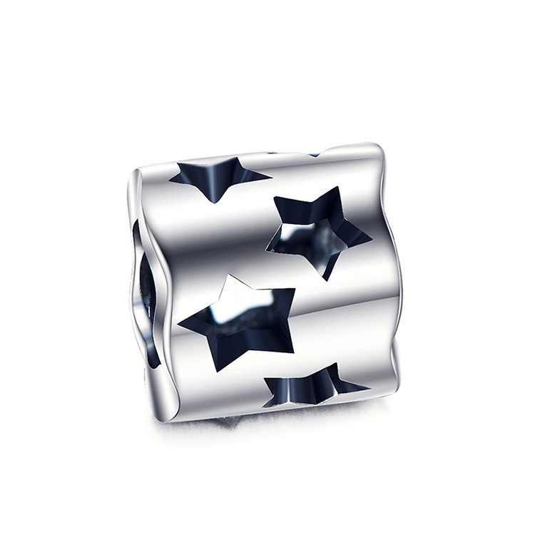 2 шт./лот Настоящее серебро 925 проба перфорацией в виде звезд Подвески Fit DIY Браслеты с подвесками Браслеты аксессуары для браслетов серебро 925 ювелирные изделия