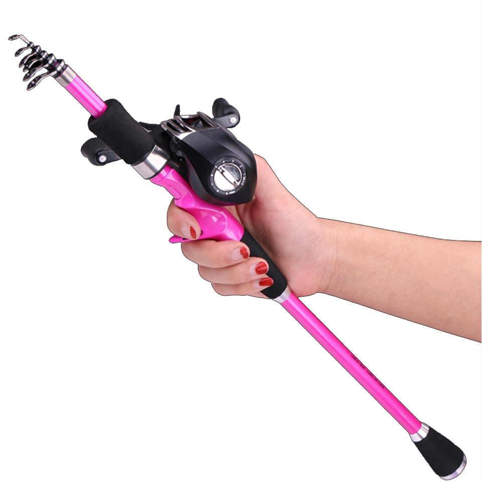 Pink 1 8 2 4m Baitcasting Fishing Rod Combo Ultralight Carbon Portable Travel Stick Telescopic Lure Rod Reel Boat Rock Pole Aliexpress