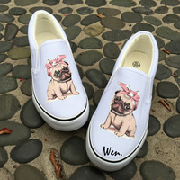 Wen Original Design Canvas Sneakers Cute Pug Pet Dog Pink Bow Headband White Black 2 Choices