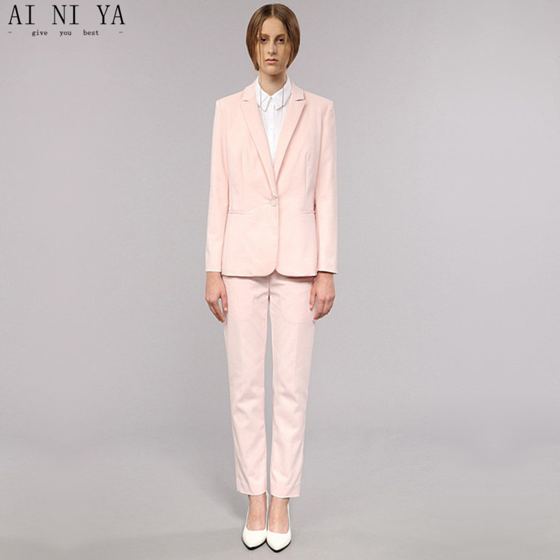 Light Pink Womens Business Work Suits Female Office Uniform One Button Ladies Formal Tro ...
