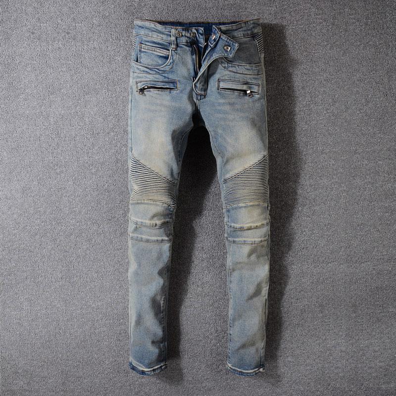 European High Street Fashion Men Jeans Retro Washed Zipper Pockets Denim Cargo Pants Hombre American Streetwear Biker Jeans Men