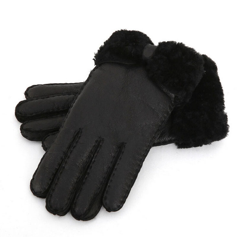 New 2019 Winter Women Warm Fur Gloves Ladies Elegant Genuine Leather Gloves Women 39 s Wool Mittens Outdoor Riding Gloves in Women 39 s Gloves from Apparel Accessories