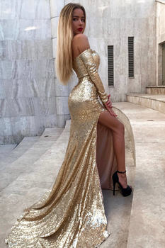New Sparkly Gold Sequin Elegant Sweetheart Off Shoulder Sexy Backless Side Slit Mermaid Long Sleeve Prom Dress 2020