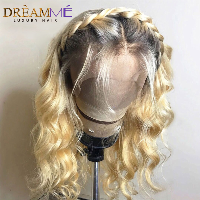 Ombre Blonde Lace Front Wig Pre Plucked Water Wave Wig With Baby Hair 4T613 Colored Short