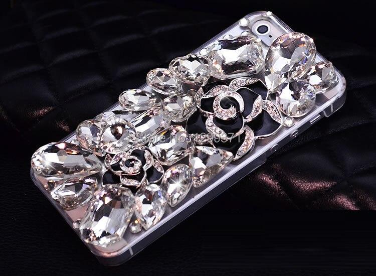 Luxury Camellia Bunga Kristal Berlian Kasus Untuk Iphone 7 6 S - Aksesori dan suku cadang ponsel - Foto 2