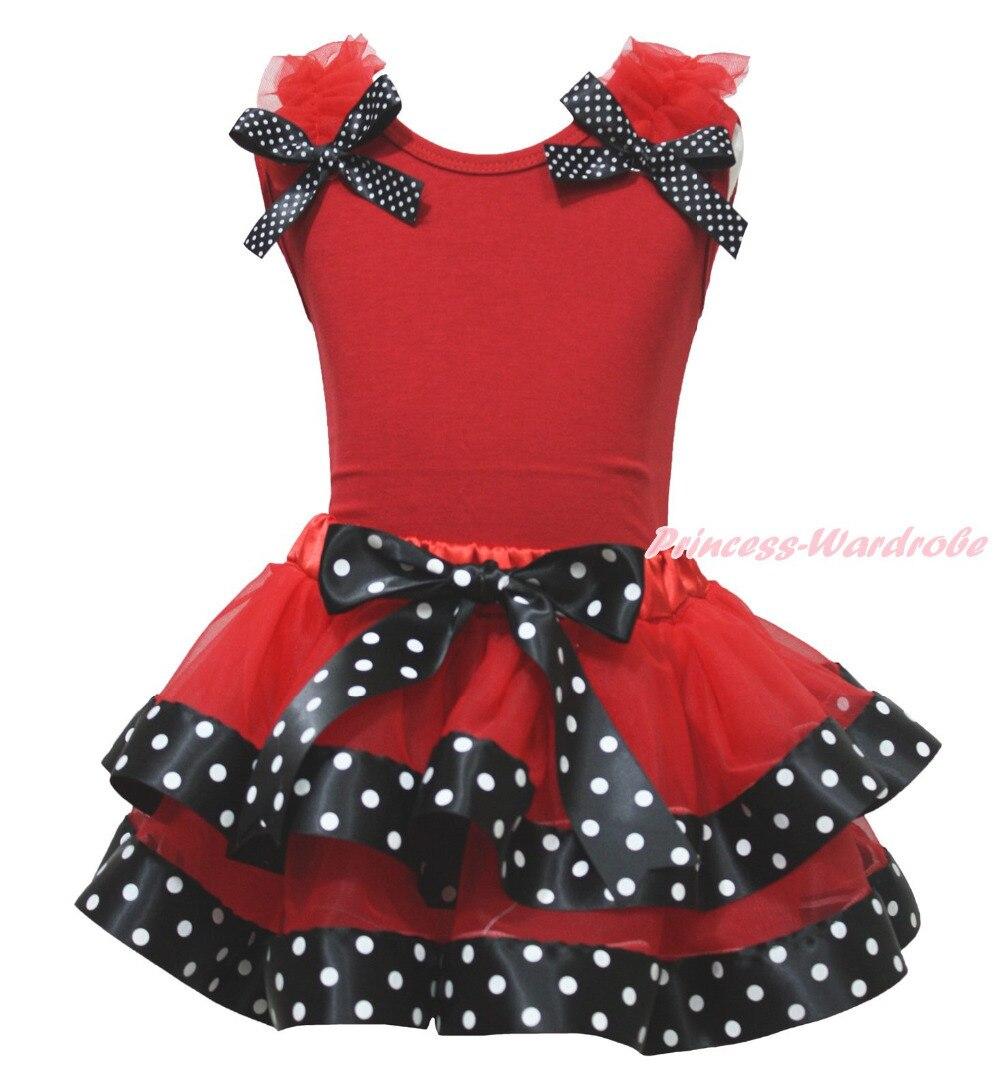 Halloween Red Top Bow Ruffle Shirt Black Polka Dots Satin Trim Skirt Girl Outfit Set NB-8Y MAPSA0807 hot pink top shirt camouflage lacing satin trim girl pettiskirt outfit set nb 8y mapsa0642