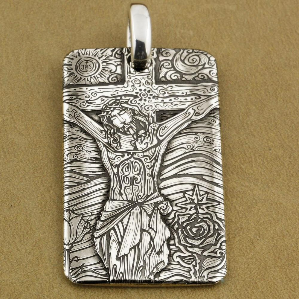 999 Sterling Silver głębokie grawerowane jezus krucyfiks krzyż mężczyźni Biker wisiorek 9X037SA w Wisiorki od Biżuteria i akcesoria na  Grupa 1