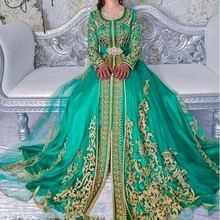 Evening Dresses Vintage Long Formal Dress Muslim Lace Gowns Green Robe De Soiree A Line Gown Applique