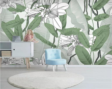 Beibehang Customized personality wallpaper mural Nordic small fresh tropical rainforest banana leaf  Photo 3d painting