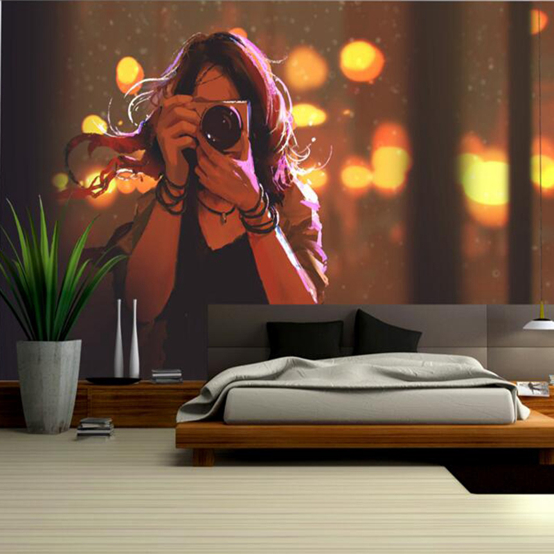 Desktop Wallpaper Hd Girls Wallpaper Hand Drawn Woman Holding a Photo Camera Feature Wallpaper Kids Bedroom Decor Room Murals
