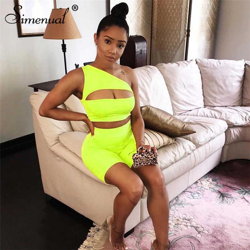 Simenual Neon kolor damski zestaw dwuczęściowy jedno ramię na co dzień dresy wyciąć uprawy Top i Biker spodenki zestawy sportowy Active Wear