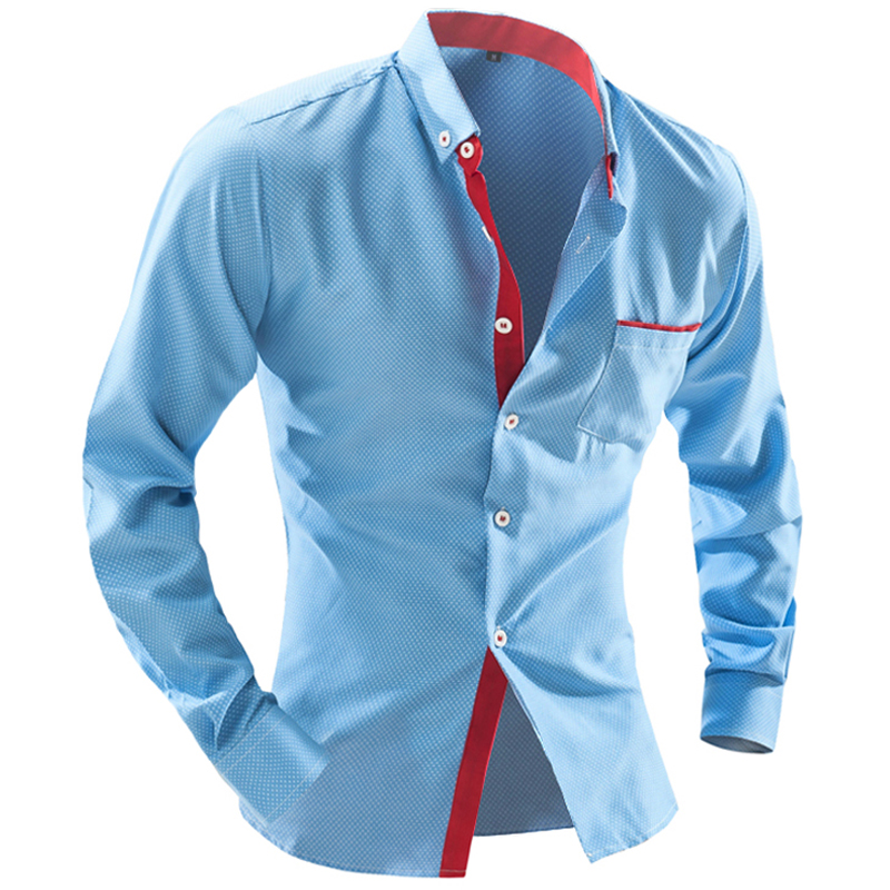 Brand Dress <font><b>Shirts</b></font> <font><b>Mens</b></font> <font><b>Polka</b></font> <font><b>Dot</b></font> <font><b>Shirt</b></font> Slim Fit Chemise Homme Long Sleeve <font><b>Men</b></font> <font><b>Shirt</b></font> Heren Hemden Slim Camisa Masculina Xxl image