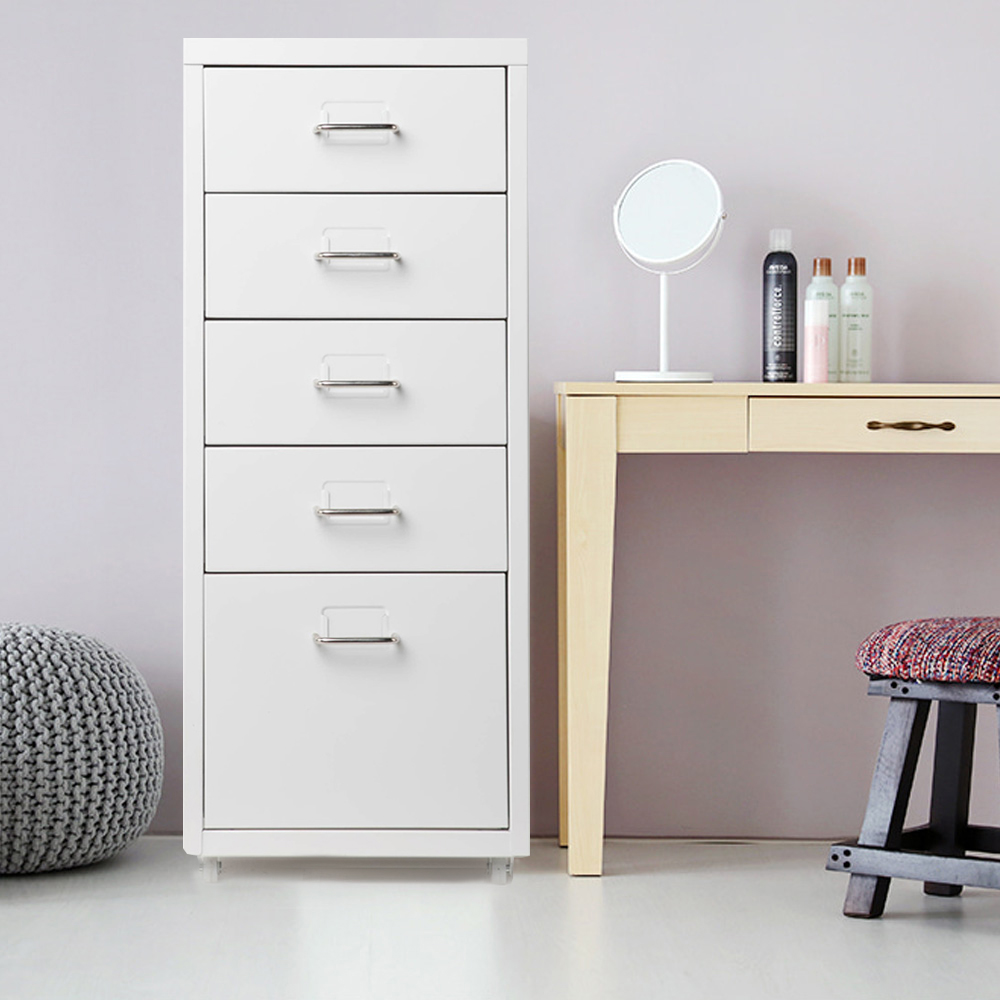 IKayaa classeur à tiroirs en métal classeurs en acier mobiles détachables avec 5 tiroirs 4 roulettes table de chevet à tiroirs multicouches