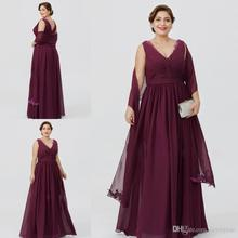 Elegant Plus Burgundy Chiffon A-line Mother Of The Bride Dresses V Neck Floor Length Cheap Dress Formal Evening gown