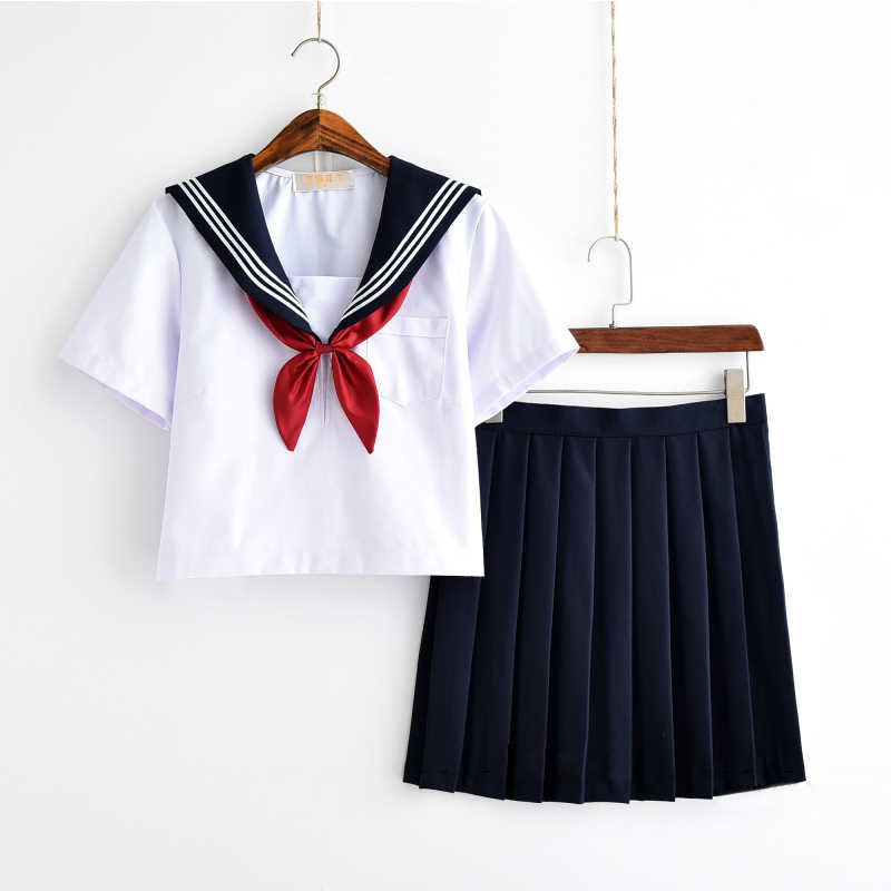 Wit Schoolmeisje Uniform Japanse Klasse Navy Sailor School Uniformen Studenten Kleding Voor Meisjes Anime COS Sailor Marine Pak