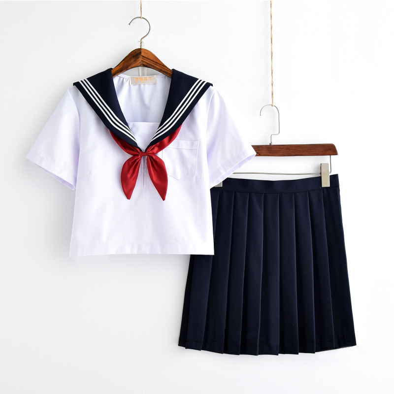 White Schoolgirl Uniform Japanese Class Navy Sailor School Uniforms Students Clothes For Girls Anime COS Sailor Navy Suit image