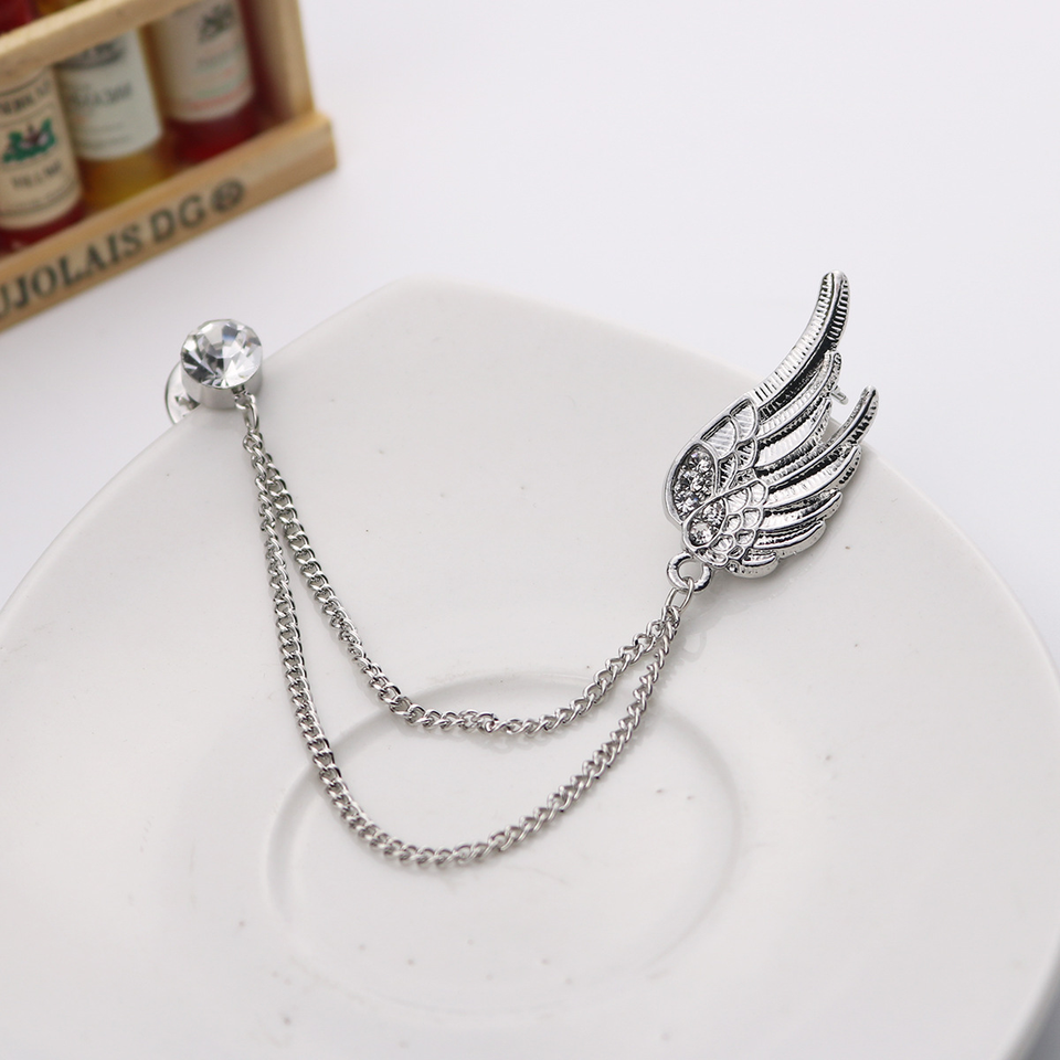 New Korean Silver Tassel Angel Wing Brooch Chain Corsage Collar Badge  Female Lapel Pin Medal Men's Suit Shirt Collar Accessories