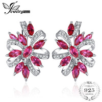 JewelryPalace Unique Design 2.1ct Red Created Rubies Clip On Earrings 925 Sterling Silver Hot Sale Vintage Jewelry For Women