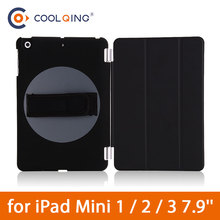 Rotatable Tablets Case For iPad Mini 1/2/3 Smart Handle in Hand Adjust Tri-folded Cover Tablet 123
