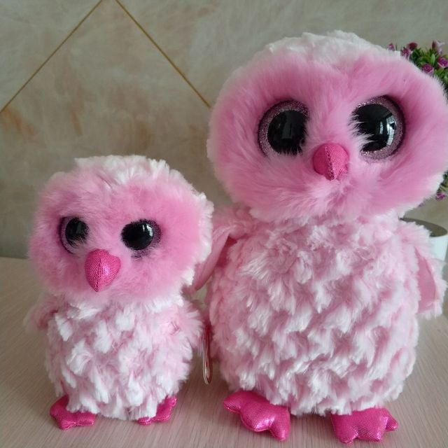 f0a8c5df8a7 2pcs 25cm and 15cm Ty Beanie Boos Collection Plush Toy twiggy Owl Soft Pink  Kids Toy