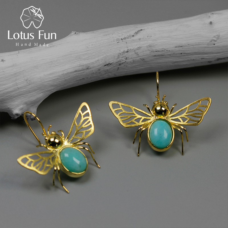 Lotus Fun Real 925 Sterling Silver Natural Amazonite Handmade Fine Jewelry Cute Hollow Out Honeybee Dangle Earrings for Women