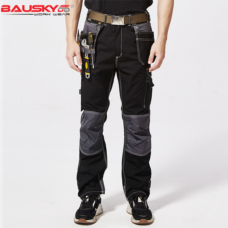 High quality black multi pockets tool work trousers working pants men workwear