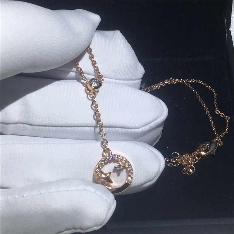 Choucong proste kariera wisiorki 5A cyrkon Cz prawdziwe 925 Sterling silver ślubny naszyjnik z naszyjnik dla kobiet prezent dla nowożeńców