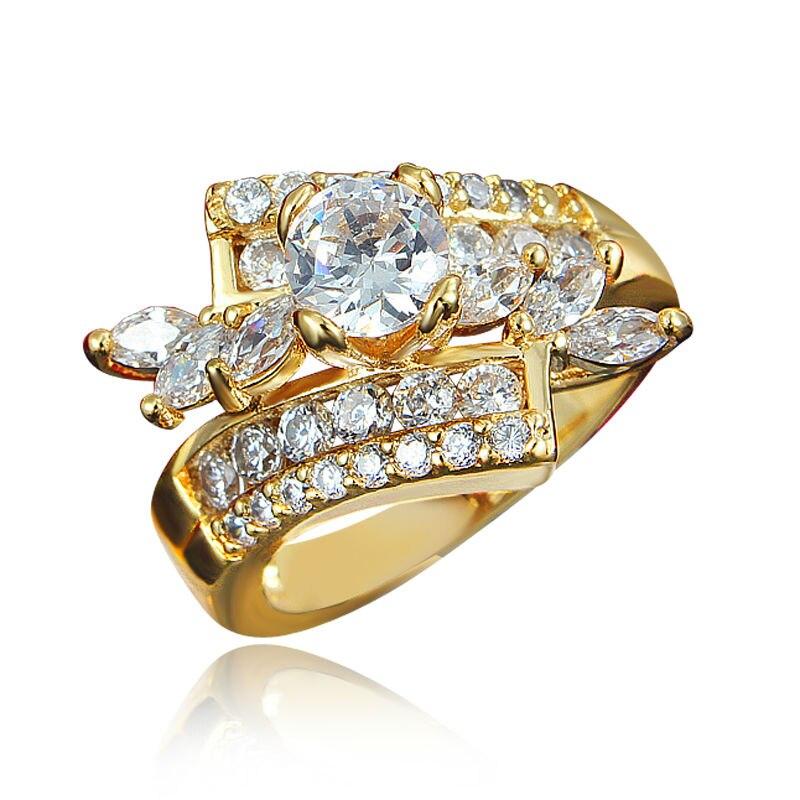 Великолепная Для мужчин Для женщин белые круглые кольца 18kt Gold Filled обещание Обруча ...