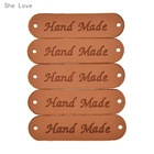 She Love 20pcs Hand Made Labels for Clothes Garment PU Leather Labels Handmade Tags Jeans Bags Shoes Sewing Accessories