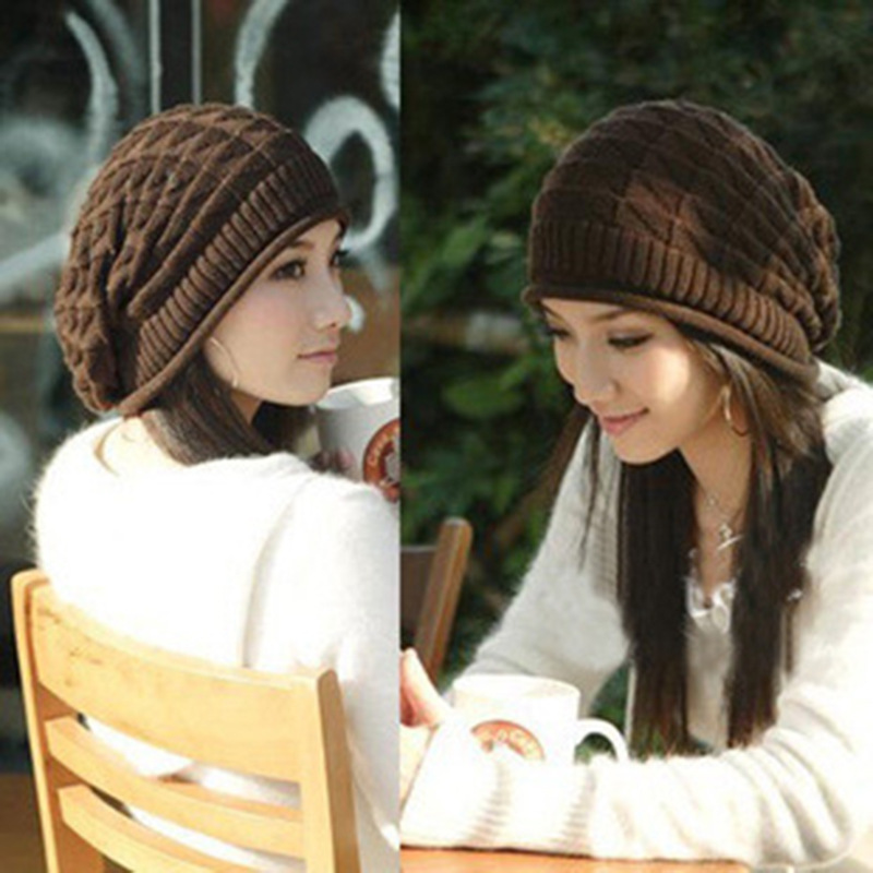 2017 New Winter Hats for Women Autumn Warm   Skullies     Beanies   Knitted Hat Fashion Girls Slouchy Bonnet Casual Ladies Cap